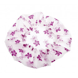 Шапочка для душа без кружева, белая с фиолетовыми цветами DEWAL BEAUTY DBH2