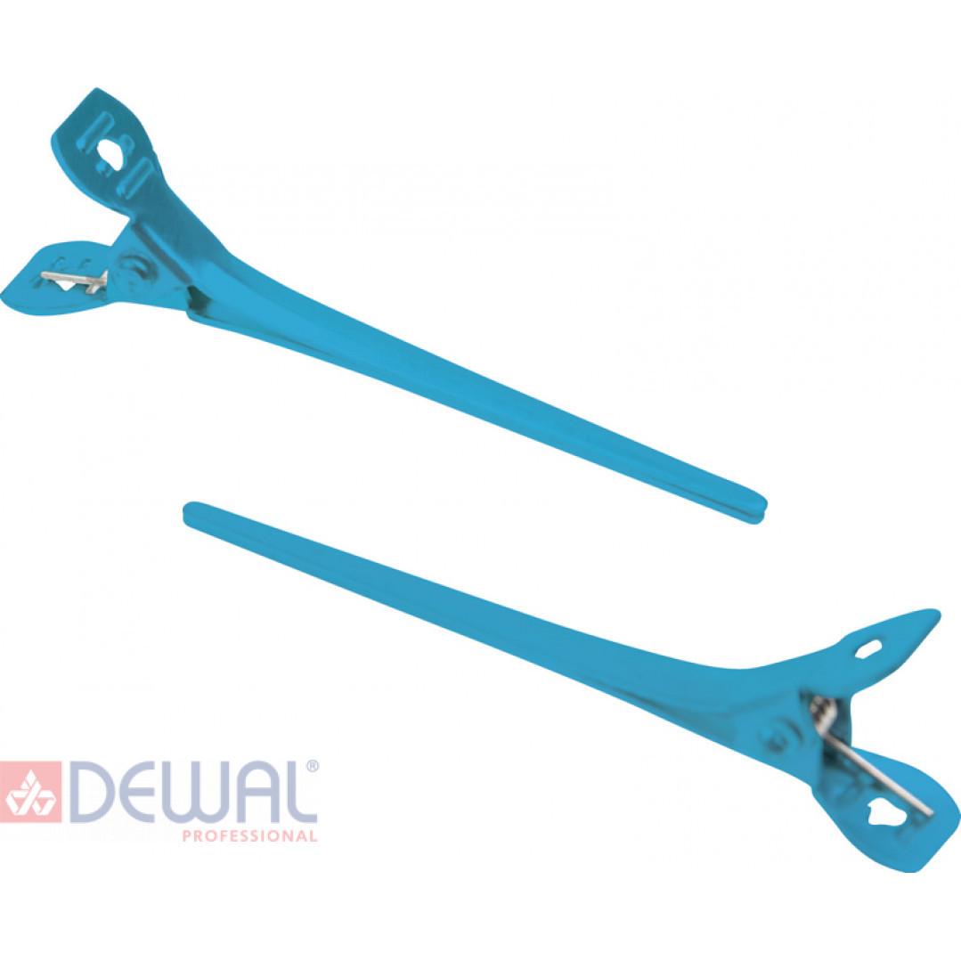 Зажим узкий, металл, 5,5 см (12 шт.) DEWAL CL2416 blue