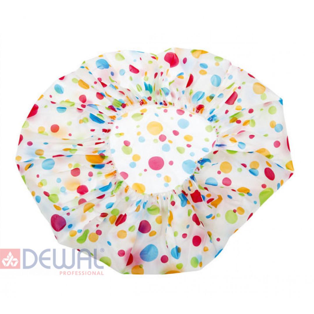 Шапочка для душа без кружева, белая с цветным горохом DEWAL BEAUTY DBH3