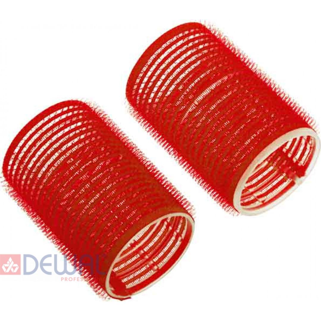Бигуди-липучки красные d 36 мм x 63 мм (10 шт) DEWAL BEAUTY DBL36