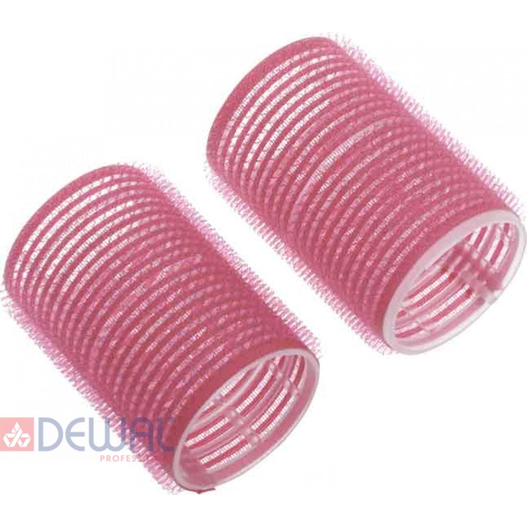 Бигуди-липучки розовые d 44 мм x 63 мм (10 шт) DEWAL BEAUTY DBL44