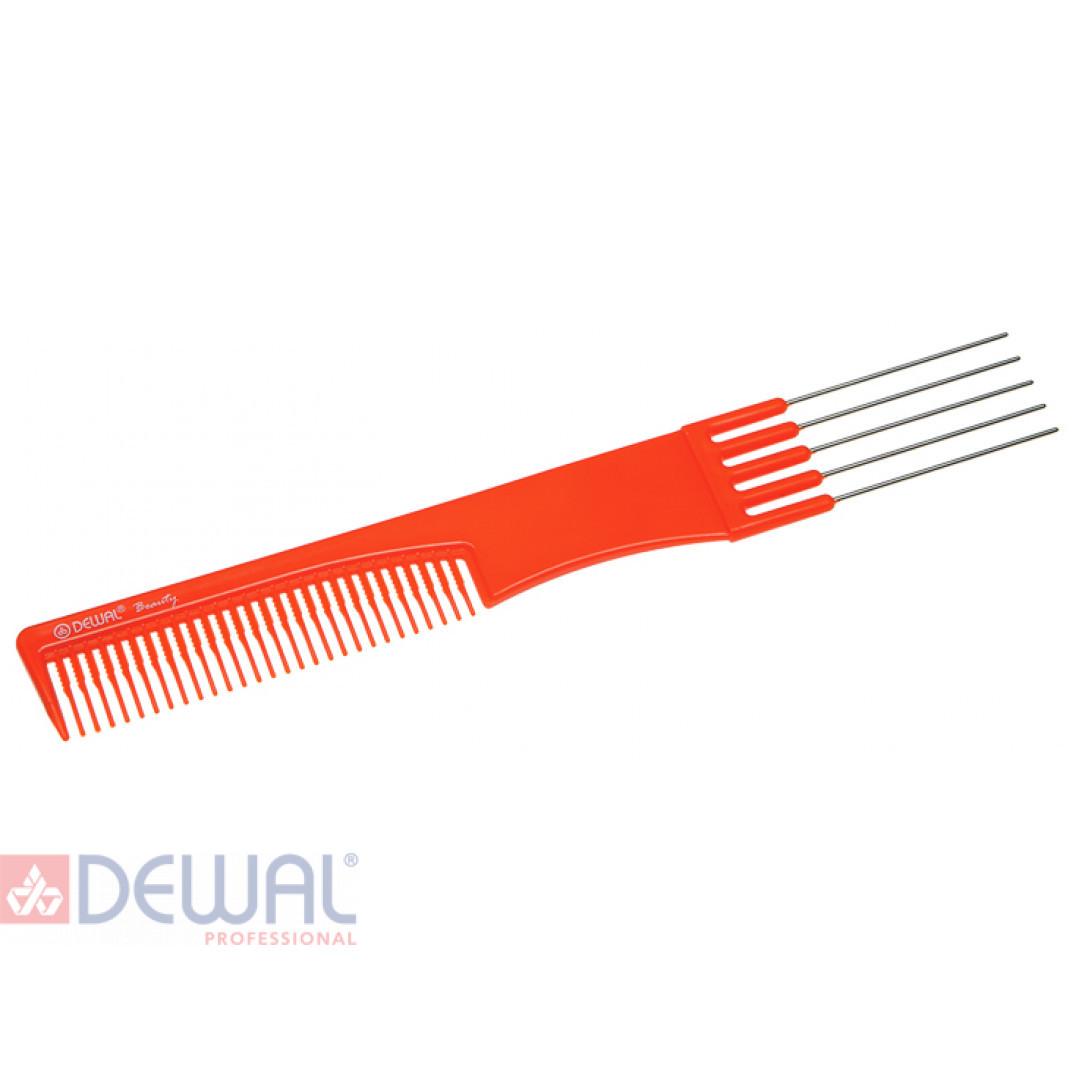 Расческа для начеса с металлическими зубцами оранжевая DEWAL BEAUTY DBO6506
