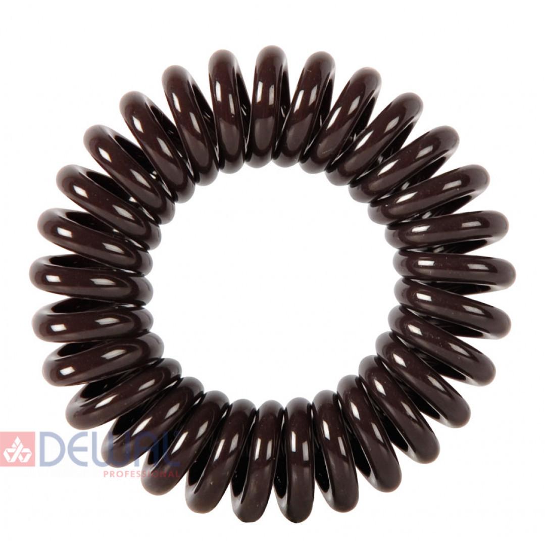 """Резинки для волос """"Пружинка"""" цвет коричневый (3 шт) DEWAL BEAUTY DBR02"""