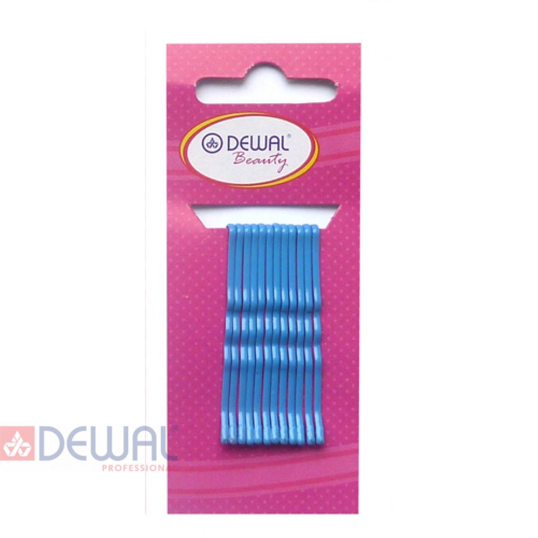 Невидимки синие 50 мм (12 шт) волна DEWAL BEAUTY N-12BLUE