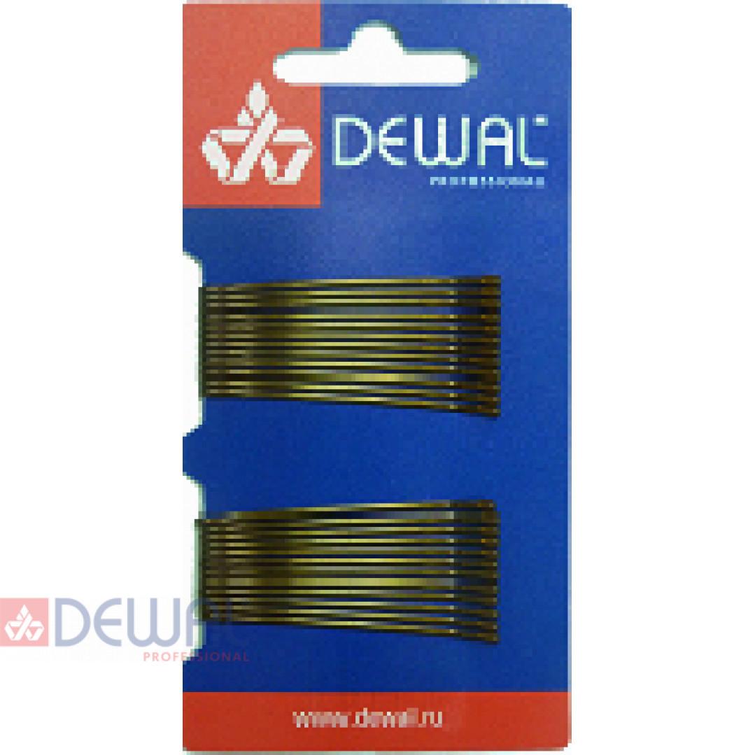 Невидимки 50 мм прямые, коричневые (24 шт.) DEWAL SLN50P-3/24